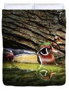 Wood Duck In Wood Duvet Cover