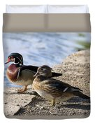 Wood Duck Pair By The Lake Duvet Cover