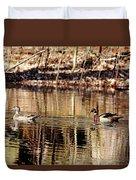 Wood Ducks Enjoying The Pond Duvet Cover