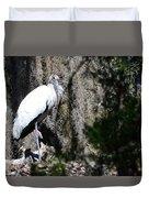 Wood Stork And Moss Duvet Cover