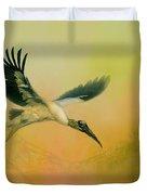 Wood Stork Encounter Duvet Cover