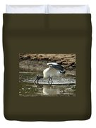 Wood Stork Fishing Duvet Cover