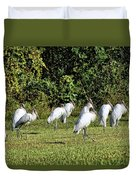 Wood Storks 2 - There Is Always One In A Crowd Duvet Cover