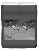 Wood Storks By The Water's Edge Duvet Cover