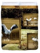 Wood Storks Of Oak Grove Island Duvet Cover