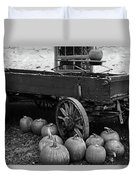 Wood Wagon And Pumpkins Black And White Duvet Cover