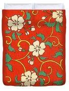 Woodblock Print Of Apple Blossoms Duvet Cover