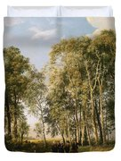Wooded Landscape With A Group Of Figures In Costume Duvet Cover