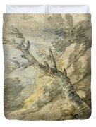 Wooded Landscape With Rocks And Tree Stump Duvet Cover