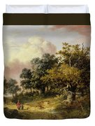 Wooded Landscape With Woman And Child Walking Down A Road  Duvet Cover