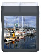 Wooden Boats On The Water Duvet Cover