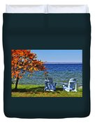 Wooden Chairs On Autumn Lake Duvet Cover