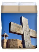 Wooden Cross And Penitente Church Duvet Cover