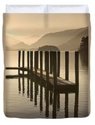 Wooden Dock In The Lake At Sunset Duvet Cover