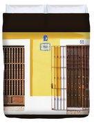 Wooden Doors In Old San Juan, Puerto Rico Duvet Cover