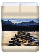 Wooden Fence And Sawtooth Mountain Range Duvet Cover