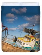 Wooden Fishing Boat On Shore Duvet Cover