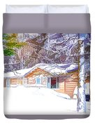 Wooden House In Winter Forest Duvet Cover