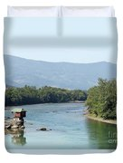 wooden house on rock Drina river Serbia Duvet Cover