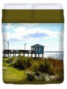 Wooden Pier With Pavilion Duvet Cover