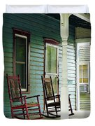 Wooden Rocking Chairs On Porch Duvet Cover