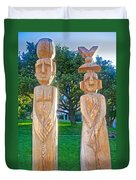 Wooden Sculptures In Central Park In Bariloche-argentina Duvet Cover