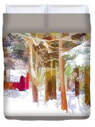 Wooden Shed In Winter Duvet Cover