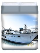 Wooden Yacht In Mooring Duvet Cover