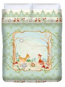 Woodland Fairy Tale - Aqua Blue Forest Gathering Of Woodland Animals Duvet Cover