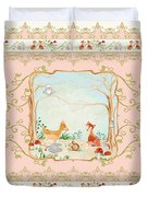 Woodland Fairy Tale - Blush Pink Forest Gathering Of Woodland Animals Duvet Cover