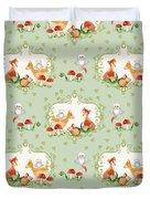 Woodland Fairy Tale - Mint Green Sweet Animals Fox Deer Rabbit Owl - Half Drop Repeat Duvet Cover