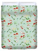 Woodland Fairy Tale - Red Mushrooms N Owls Duvet Cover
