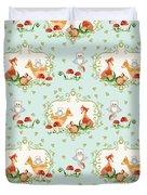 Woodland Fairy Tale - Sweet Animals Fox Deer Rabbit Owl - Half Drop Repeat Duvet Cover