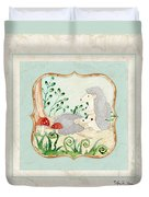 Woodland Fairy Tale - Woodchucks In The Forest W Red Mushrooms Duvet Cover