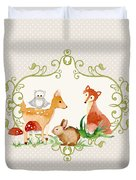Woodland Fairytale - Grey Animals Deer Owl Fox Bunny N Mushrooms Duvet Cover