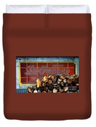Woodpile With Taste - Dr Pepper Rustic Antique Red Country Southwest Duvet Cover