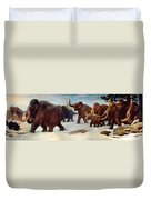 Wooly Mammoths Near The Somme River Duvet Cover