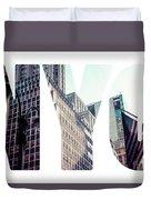 Word Nyc Manhattan Skyline At Sunset, New York City  Duvet Cover
