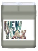 Word Usa Manhattan Skyline At Sunset, New York City  Duvet Cover