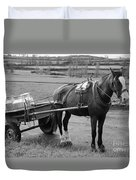 Work Horse And Cart Duvet Cover