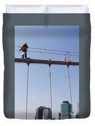 Worker On Top Of Brooklyn Bridge In New York City Duvet Cover