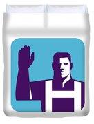 Worker Right Arm Raise To Vote Square Retro Duvet Cover