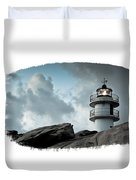 Working Lighthouse Isolated On White Duvet Cover