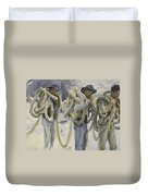 Workmen At Carrara Duvet Cover