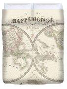 World Map - 1842 Duvet Cover