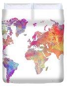 World Map Art Duvet Cover