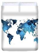 World Map Blue Duvet Cover