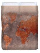 World Map Brown Duvet Cover