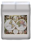 World Map, C1690 Duvet Cover