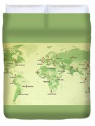World Map Countries Cities Straight Pin Vintage Duvet Cover